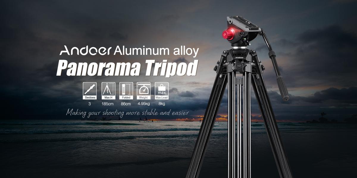 Andoer Professional Aluminum alloy Panorama Tripod Fluid Hydraulic Head Ballhead for Canon Nikon Sony DSLR Camera