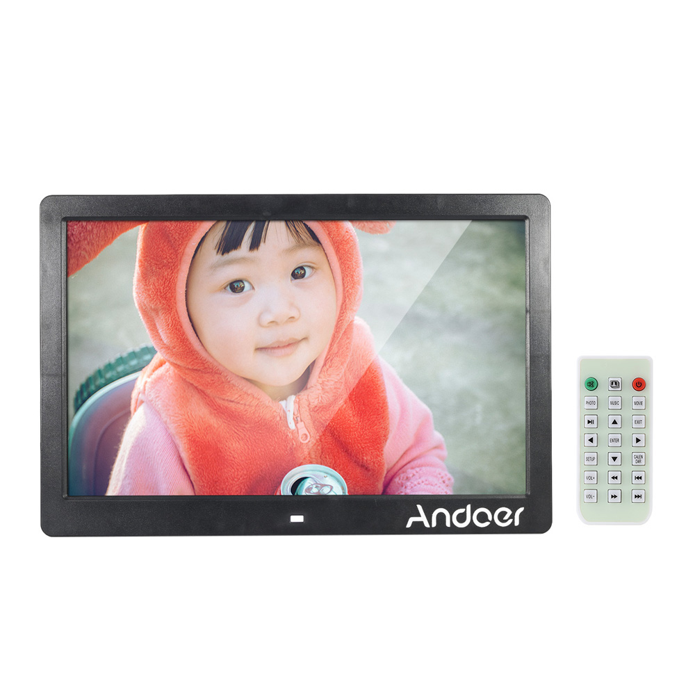 andoer 13 tft led digital photo picture frame high resolution 1280800 advertising machine mp3 mp4 movie player alarm clock with remote control gift