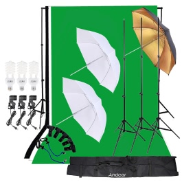 Andoer Photo Video Studio Lighting Kit 45W Light Bulb with Muslin Backdrop Stand E27 Light Socket Soft box Black/Gold Umbrella Set