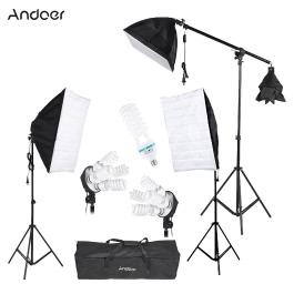 Andoer Photography Studio Portrait Product Light Lighting Tent Kit Photo Video Equipment(3 * Softbox+2 * 4in1 Light Socket