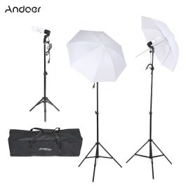 Andoer Photography Video Portrait Studio Soft Umbrella Continuous Triple Lighting Kit Photo light stand with Carrying Case