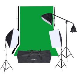 Andoer Photography Photo Portrait Studio Lighting Kit Light Tent Photo Video Equipment (135W Light Bulb / Softbox /Softbox /E27 Socket Lamp Holder /Light Stand /Cantilever Stick /Carrying Bag