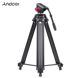 Andoer Professional Aluminum alloy Panorama Tripod Fluid Hydraulic Head Ballhead for Canon Nikon Sony DSLR Camera & Video Recorder DV Max Height 72 Inches Max Load 8KG with Carrying Bag
