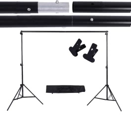 Andoer 2 * 3m / 6.6 * 9.8ft Adjustable Background Support Stand Photo Backdrop Crossbar Kit with two Clamps
