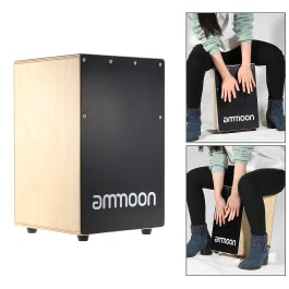 ammoon Wooden Cajon Hand Drum Children Box Drum Persussion Instrument with Stings Rubber Feet 23 * 24 * 37cm